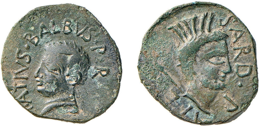 Repubblica Romana. Asse detto �Sardus Pater� (AE, 7,80 g., 27mm.), zecca di Sardegna, (38-27a.C.); foto tratta dalla casa d�aste Nomisma
