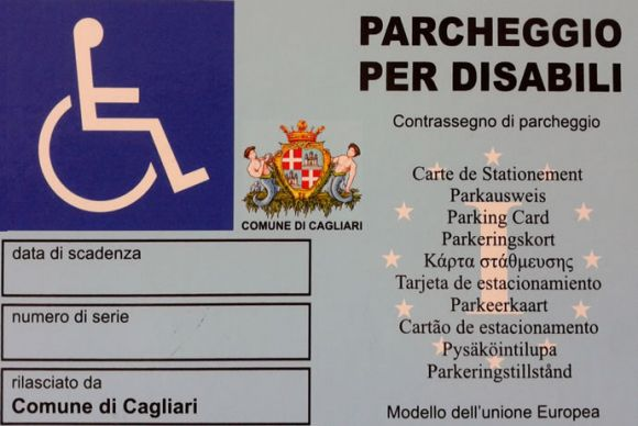 Contrassegno di parcheggio per disabili - cude