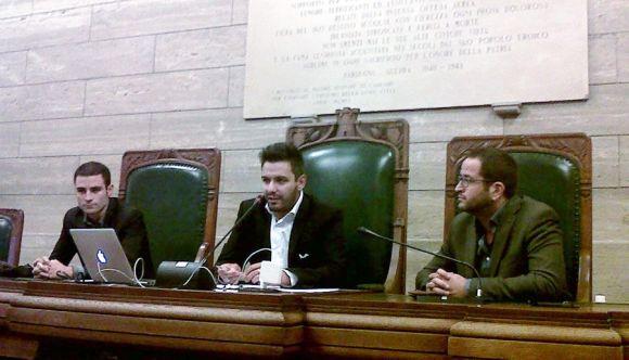 Da sx: Michele Schirru comune Arbus Michele Rovelli musicista Filippo Petrucci consigliere Cagliari